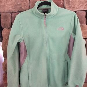 North Face fleece mint green and gray jacket
